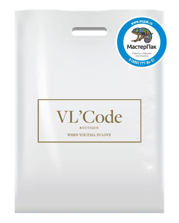 ПВД пакет, 70 мкм, 38*50, с вырубной ручкой и логотипом VL Code