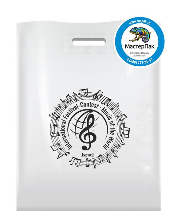 ПВД пакет, 70 мкм, 30*40, с вырубной ручкой и логотипом Music of the World