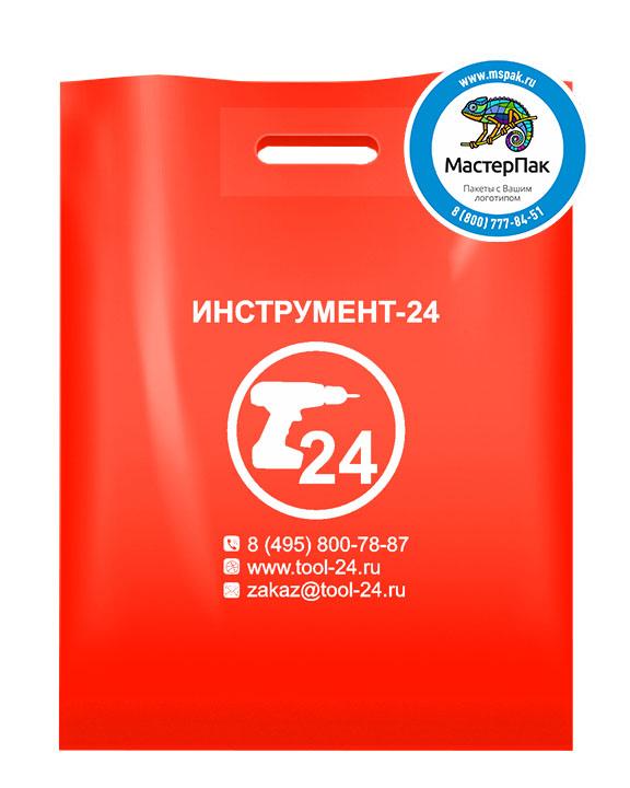 ПВД пакет, 70 мкм, 38*50, с вырубной ручкой и логотипом Инструмент-24
