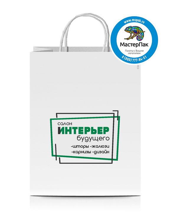 Пакет крафтовый, 80 гр., 45*15*35, крученые ручки с логотипом Салон Интерьер Будущего