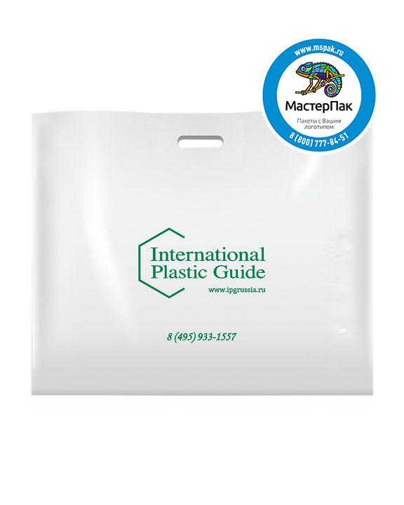 ПВД пакет, 70 мкм, 70*50, с вырубной ручкой и логотипом International Plastic Guide
