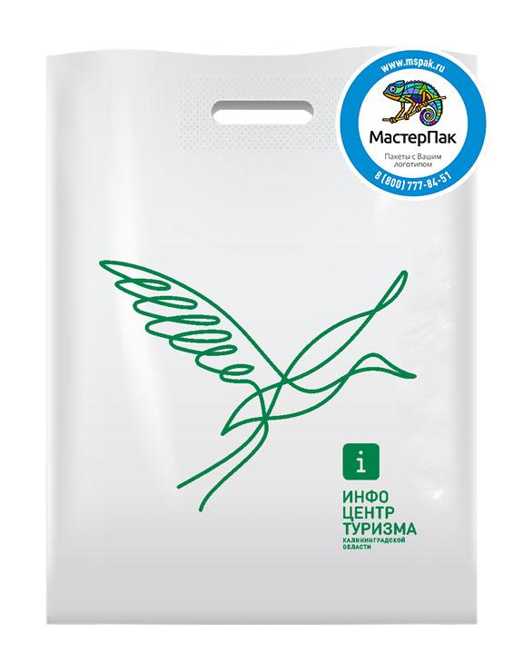 ПВД пакет, 70 мкм, 36*45, с вырубной ручкой и логотипом Инфо Центр Туризма