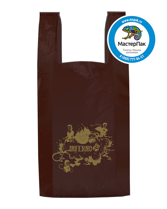 Пакет-майка, материал ПНД, 30*60 см, 20 мкм,с логотипом INFERNO