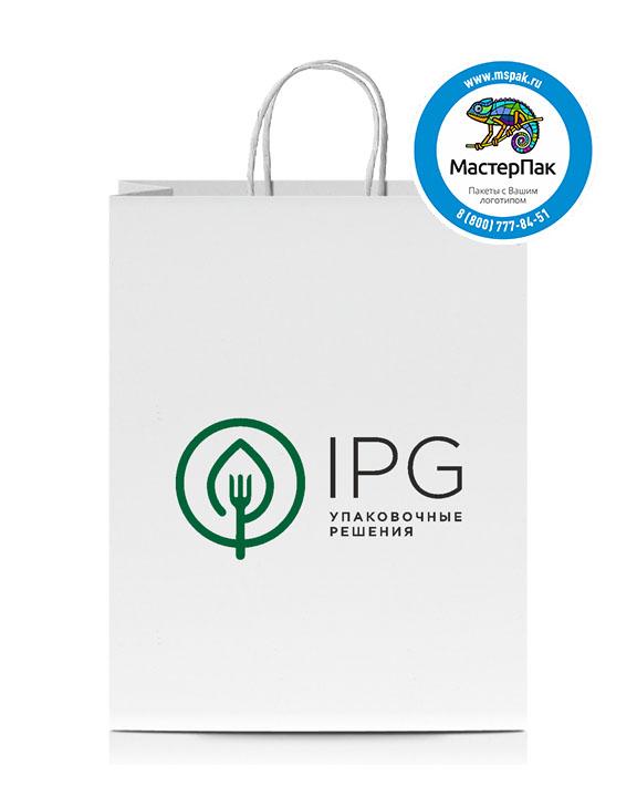 Пакет крафтовый, 78 гр., 35*15*45, крученые ручки с логотипом IPG