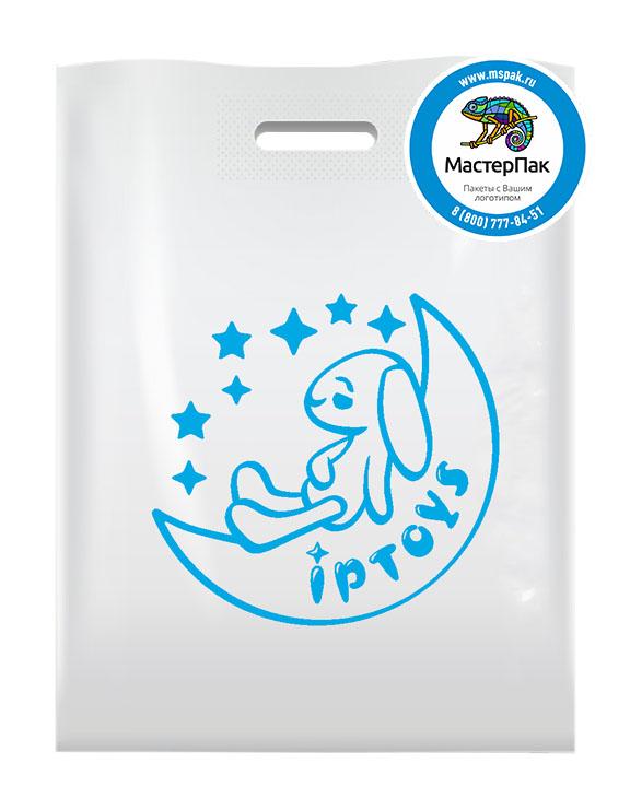ПВД пакет, 70 мкм, 38*50, с вырубной ручкой и логотипом Iptoys