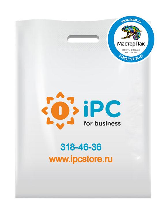 ПВД пакет, 70 мкм, 38*50, с вырубной ручкой и логотипом iPC for business