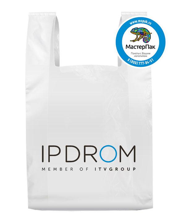 Пакет-майка, материал ПНД, 44*64 см, 19 мкм,с логотипом  IPDROM