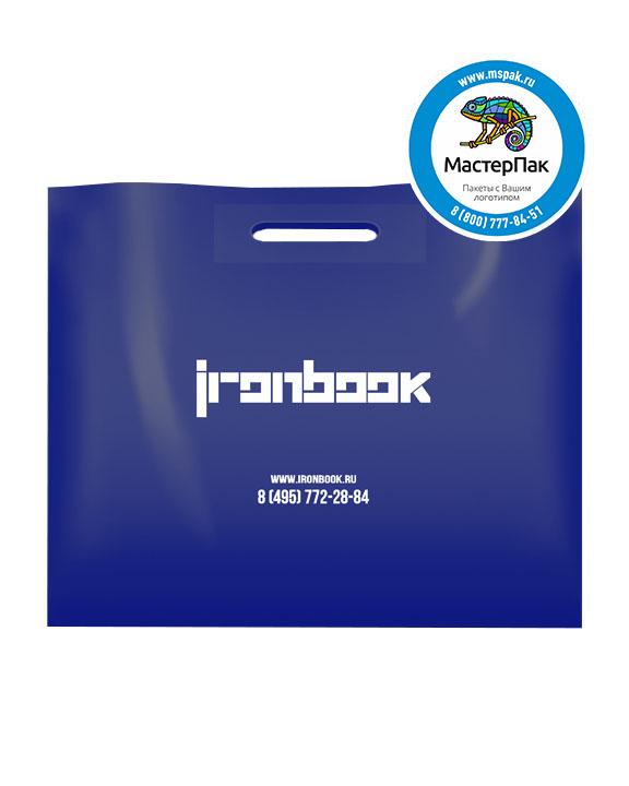 ПВД пакет, 70 мкм, 60*50, с вырубной ручкой и логотипом Ironbook
