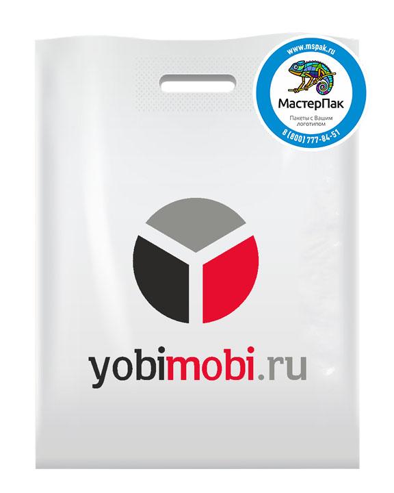 ПВД пакет, 70 мкм, 38*50, с вырубной ручкой и логотипом yobimobi.ru