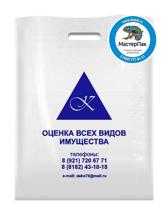 ПВД пакет, 70 мкм, 30*40, с вырубной ручкой и логотипом Оценка всех видом имущества
