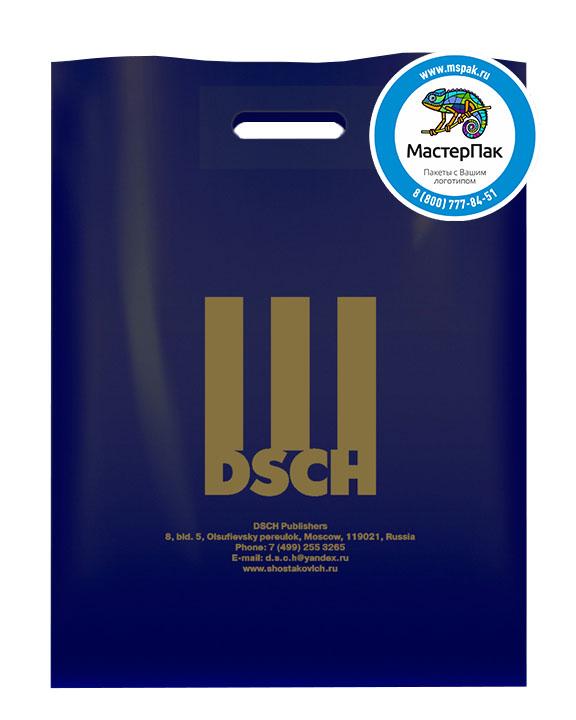 ПВД пакет, 70 мкм, 38*50, с вырубной ручкой и логотипом DSCH