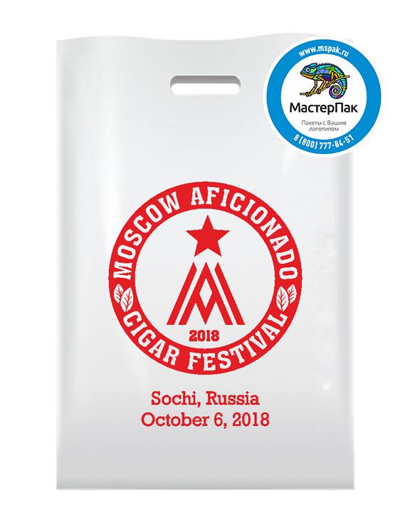 ПВД пакет, 70 мкм, 30*40, с вырубной ручкой и логотипом Moscow Aficionado Cigar Festival