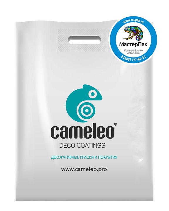 ПВД пакет, 70 мкм, 38*50, с вырубной ручкой и логотипом Cameleo