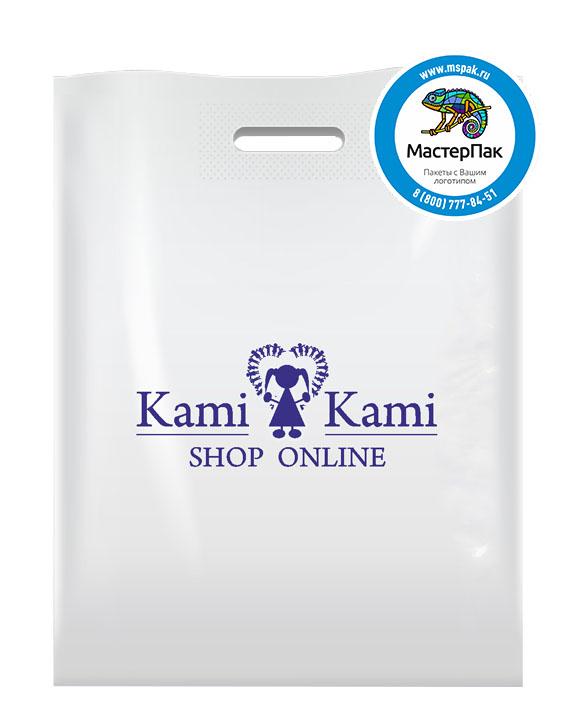 ПВД пакет, 70 мкм, 30*40, с вырубной ручкой и логотипом Kami Kami
