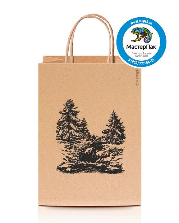 Пакет крафтовый, 100 гр., 45*15*35, крученые ручки с логотипом Природа