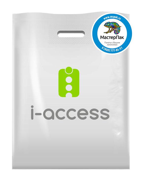 ПВД пакет, 70 мкм, 22,5*34, с вырубной ручкой и логотипом i-access