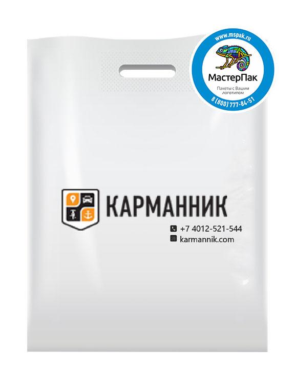 ПВД пакет, 70 мкм, 38*50, с вырубной ручкой и логотипом Карманник