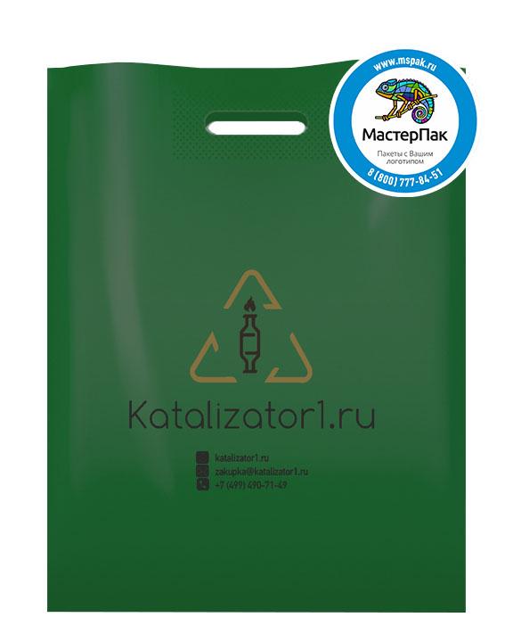 ПВД пакет, 70 мкм, 38*50, с вырубной ручкой и логотипом Katalizator1.ru