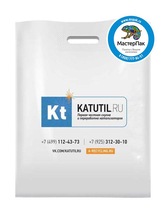 ПВД пакет, 70 мкм, 36*45, с вырубной ручкой и логотипом KATUTIL.ru