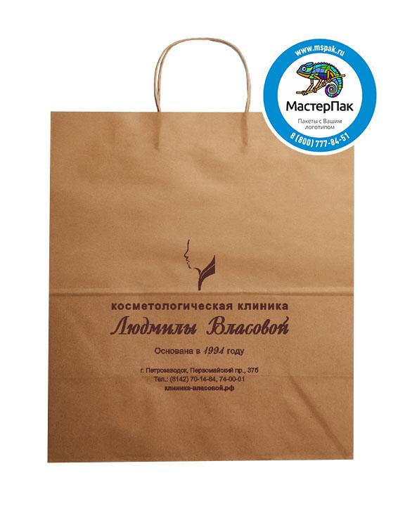 Пакет крафтовый, 70 гр., 22*12*25, крученые ручки с логотипом Косметологическая клиника Людмилы Власовой