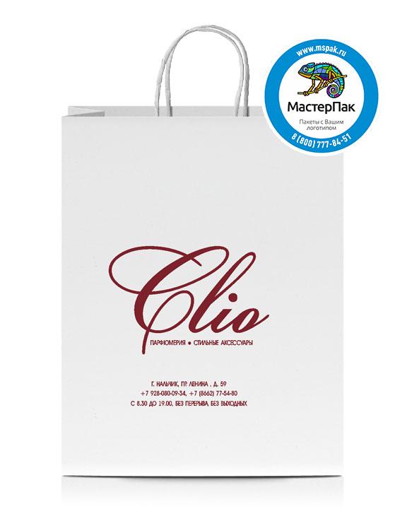 Пакет крафтовый, 120 гр., 18*8*25, крученые ручки с логотипом CLIO
