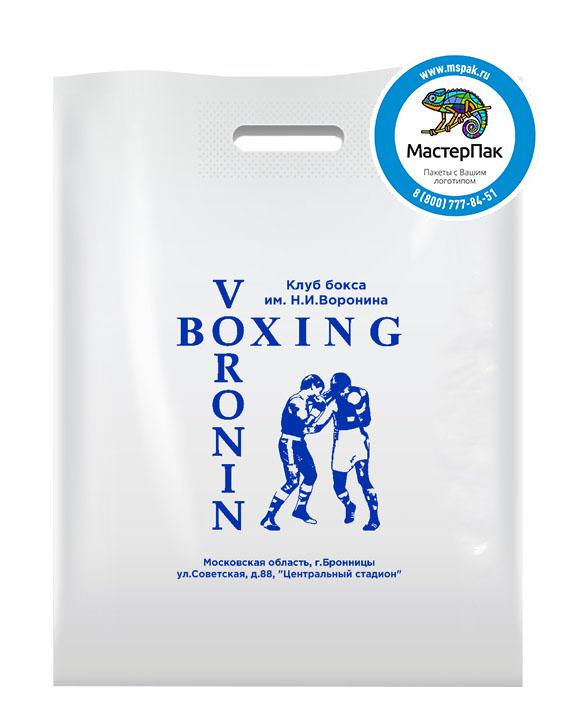 ПВД пакет, 70 мкм, 36*45, с вырубной ручкой и логотипом VORONIN BOXING