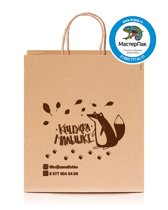 Пакет крафтовый, 70 гр., 22*12*25, крученые ручки с логотипом Книжка малышке
