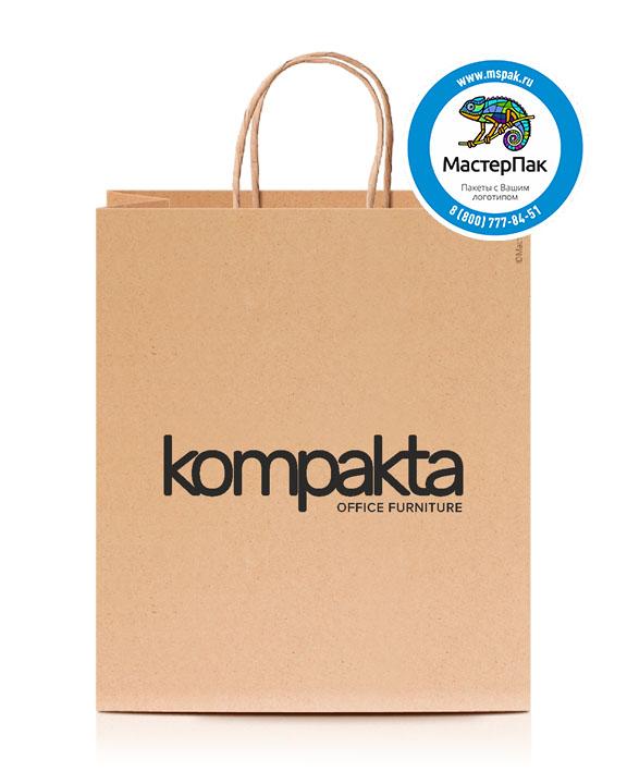 Пакет крафтовый, 80 гр., 37*32*20, крученые ручки с логотипом KOMPAKTA
