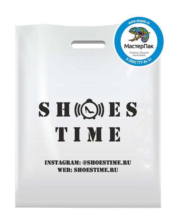 ПВД пакет, 70 мкм, 45*50, с вырубной ручкой и логотипом Shoes Time