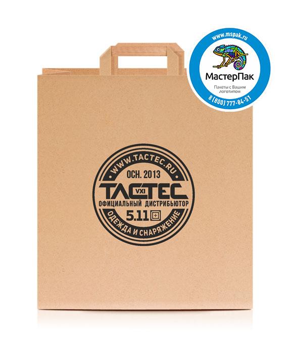 Пакет крафтовый, 80 гр., 35*15*35, плоские ручки с логотипом ТАСТЕС