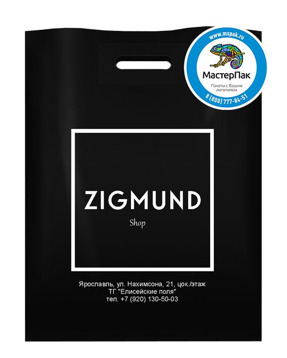 ПВД пакет, 70 мкм, 30*40, с вырубной ручкой и логотипом ZIGMUND