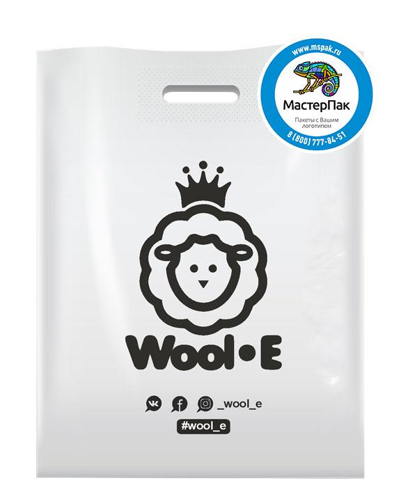 ПВД пакет, 70 мкм, 38*50, с вырубной ручкой и логотипом WOOL_E