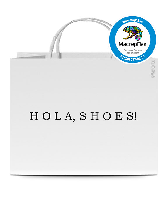 Пакет крафтовый, 100 гр., 45*15*35, крученые ручки с логотипом Hola SHOES