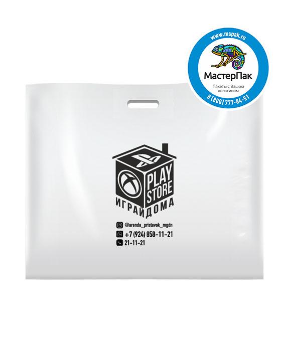 ПВД пакет, 70 мкм, 60*50, с вырубной ручкой и логотипом Играй дома