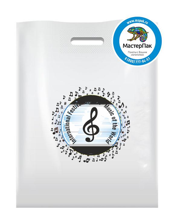 ПВД пакет, 70 мкм, 38*50, с вырубной ручкой и логотипом International Festival Music of the World