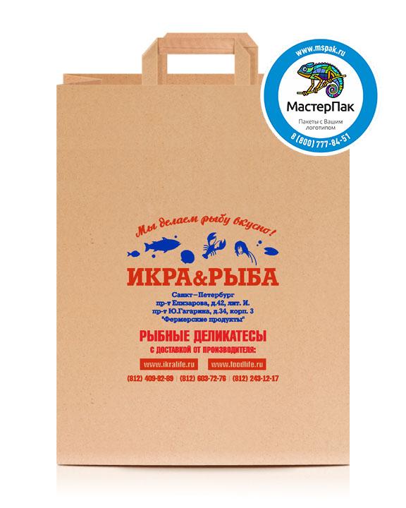 Пакет крафтовый, 90 гр., 45*35*15, плоские ручки с логотипом Икра&Рыба
