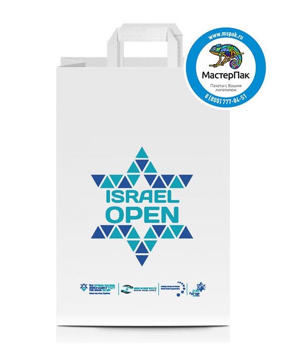 Пакет крафтовый, 100 гр., 33*22*8, плоские ручки с логотипом Israel Open