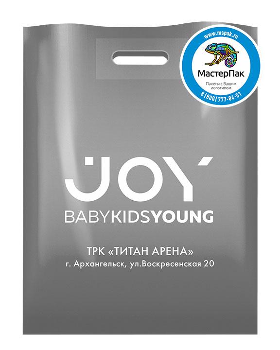ПВД пакет, 70 мкм, 38*50, с вырубной ручкой и логотипом JOY Babykidsyoung