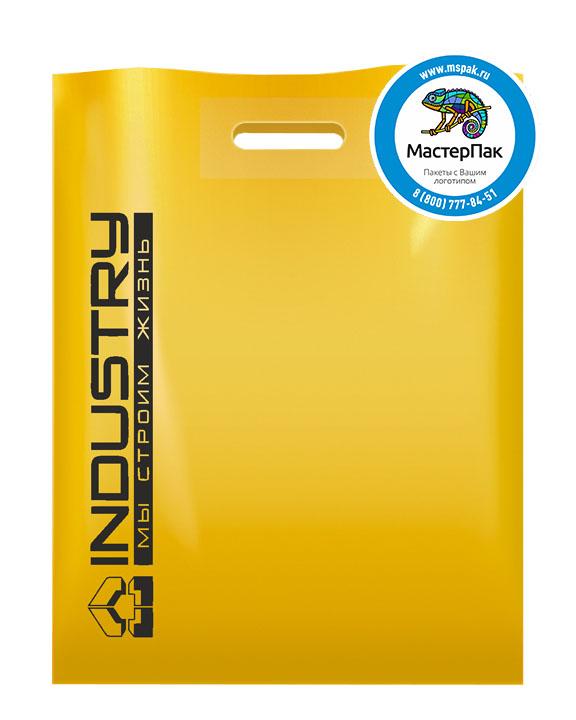 ПВД пакет, 70 мкм, 38*50, с вырубной ручкой и логотипом INDUSTRY