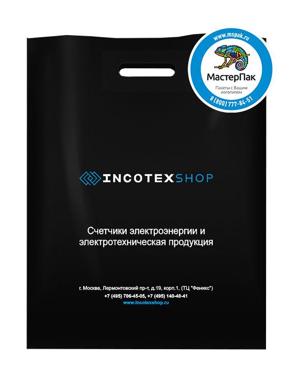 ПВД пакет, 70 мкм, 38*50, с вырубной ручкой и логотипом INCOTEX Shop