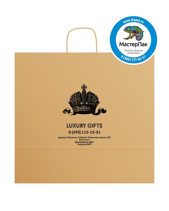 Пакет крафтовый, 45*15*35, 100 гр., крученые ручки с логотипом Luxury Gifts