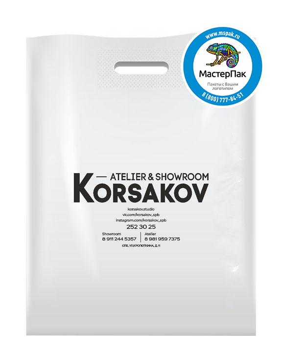 ПВД пакет, 38*50, толщина 70 мкм, с вырубной ручкой и логотипом Korsakov