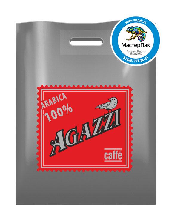 ПВД пакет, 30*40, толщина 70 мкм, с вырубной ручкой и логотипом AGAZZI