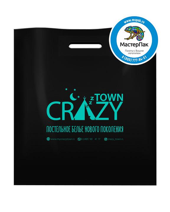 ПВД пакет, 30*40, толщина 70 мкм, с вырубной ручкой и логотипом CRAZY Town