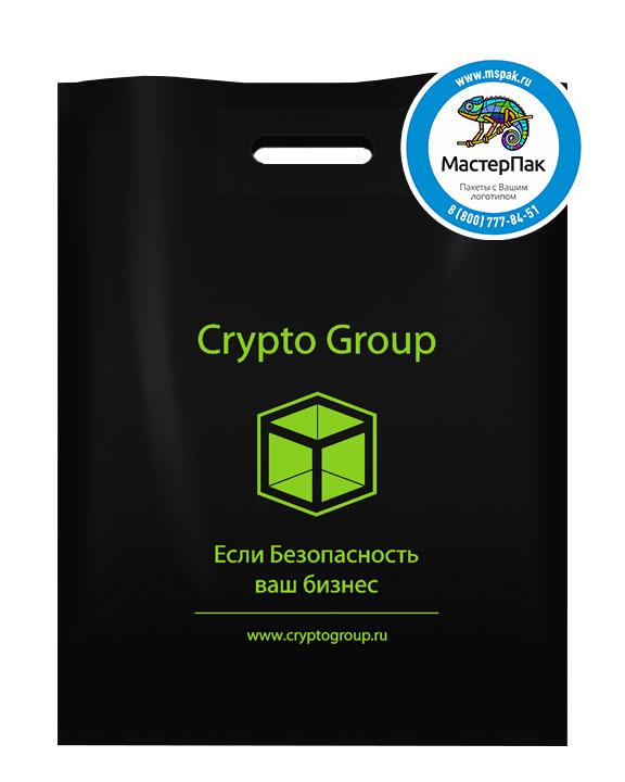ПВД пакет, 38*50, толщина 70 мкм, с вырубной ручкой и логотипом CRYPTO Group