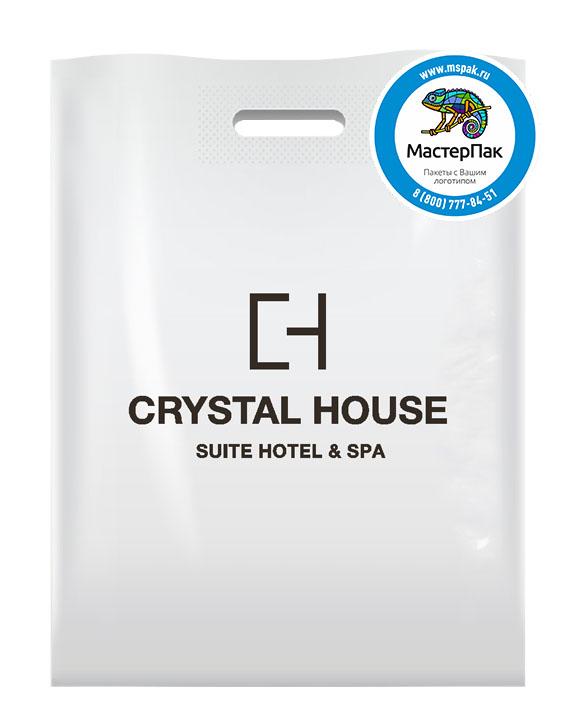 ПВД пакет, 30*40, толщина 70 мкм, с вырубной ручкой и логотипом Crystal House