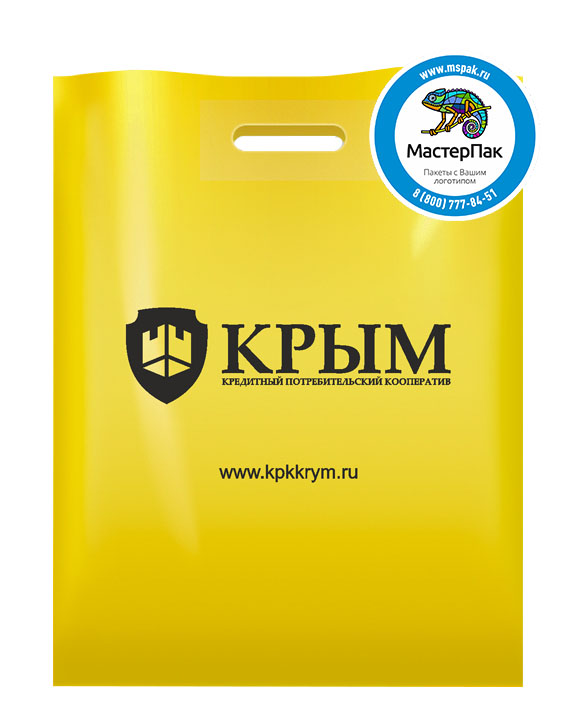 ПВД пакет, 38*50, толщина 70 мкм, с вырубной ручкой и логотипом КРЫМ