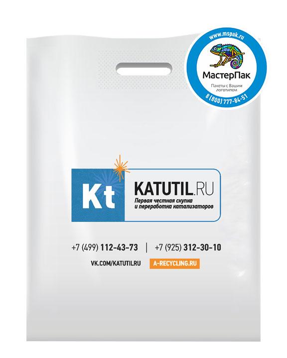 ПВД пакет, 36*45, толщина 70 мкм, с вырубной ручкой и логотипом KATUTIL.ru