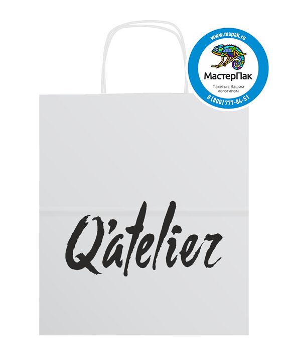 Пакет крафтовый, 45*15*35, 100 гр., крученые ручки с логотипом Qatelier