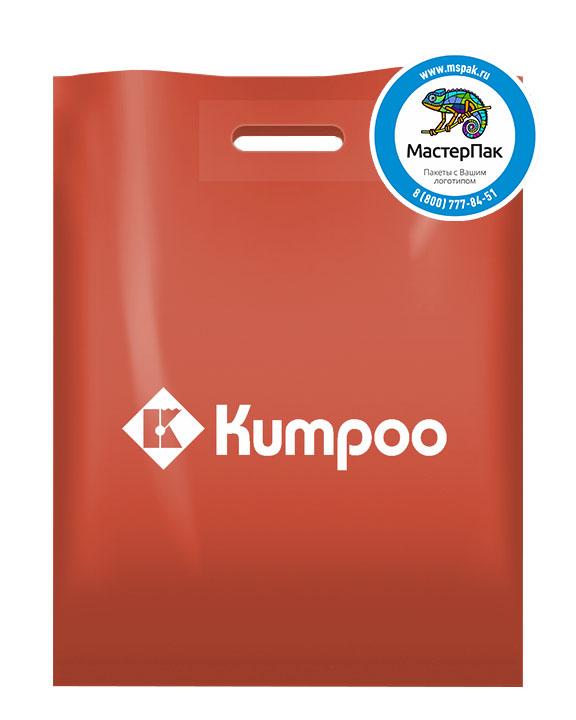 ПВД пакет, 38*50, толщина 70 мкм, с вырубной ручкой и логотипом KUMPOO